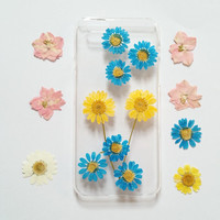 iPhone 6 Case Clear, iPhone 5s Case flower, iPhone 5c Case clear, iphone 4s case,daisy iphone 6s plus case,pressed flower iphone case