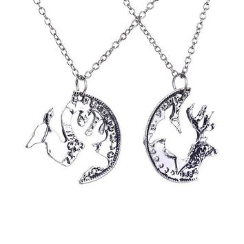 2pcs Deer Lover Couple Best Friend Gifts Pendant Necklaces Coin Puzzle Charm silver Necklace women men jewelry love girl present