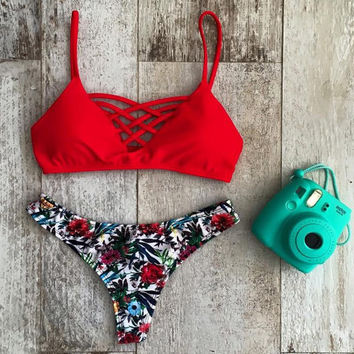 Red Bra Floral Printed Bikini Set