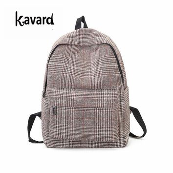 University College Backpack Plaid Wool Women Canvas s Fashion Casual Teenager Girls School Bags Big s for  Students Mochila FemininaAT_63_4