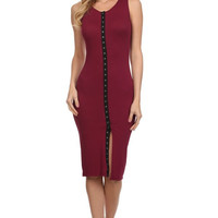 Sleeveless Solid Knit Sheath Dress - Berry