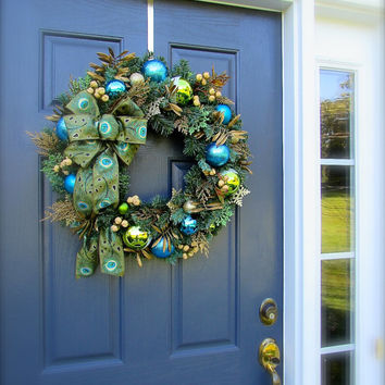 Peacock Christmas Wreath Peacock Holiday Wreaths Peacock Door Decor Christmas Wreaths