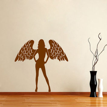 Housewares Wall Vinyl Decal Girl With Wings Woman Angel Window Mural Art Sticker V160