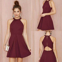 Simple Homecoming Dress, Mini Burgunry Short Homecoming Dress