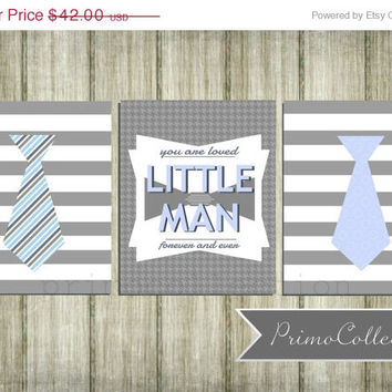 Little Man Nursery Art Prints / 8x10 inch / set of 3 / blue and gray / baby boy / boy's room decor / wall art