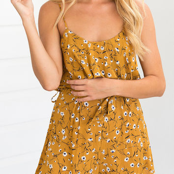 Yellow Ruffle Floral Print Tie Waist Cami Romper Playsuit