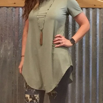 Olive Long Flowy Top