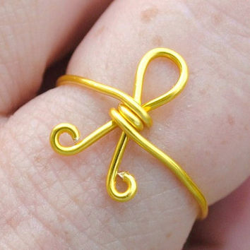 Adjustable Wire Wrapped Ring Yellow Support Our by KissMeKrafty
