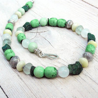 Green Yellow White Necklace, Ethnic Tribal Beadwork with African Trade Beads, Rough Apatite Nuggets, Sterling Silver OOAK