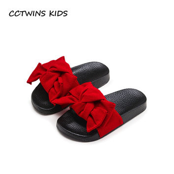 CCTWINS KIDS 2017 Summer Toddler Bow Children Slide Casual Beach Sandal Baby Girl Black Mule Kid Fashion Slip On Slipper B797