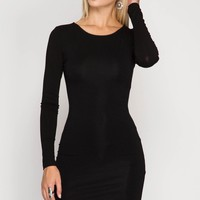 Black Long Sleeve Bodycon Dress (final sale)