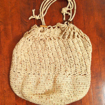 Crochet slouch beach bag with drawstrings