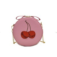 Amarte Brand Lolita Style Chain Crossbody Bag Lovely Women Messenger Bags Round Flap Bag Red Cherry Embroidery Design Bag