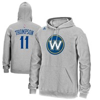Mens Golden State Warriors Klay Thompson adidas Gray Name & Number Pullover Hoodie
