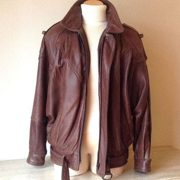 Ladies 1980s Vintage Brown Leather Bomber Jacket - Medium 8/10