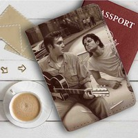 Michael Jackson and Elvis Presley Leather Passport Wallet Case Cover