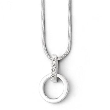 Diamond Bail Circle Necklace in Rhodium Plated Silver, 18-20 Inch