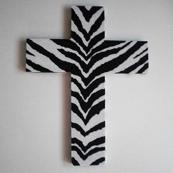 ZEBRA PRINT Wall Cross - Wood cross with zebra print eco felt