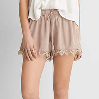AEO Lace Trim Soft Short , Taupe