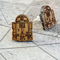 R2D2 Star Wars Wooden Cufflinks Groomsmen gift Star Wars Cuff links Valentines gifts Wedding Gifts for men Groomsmen cufflinks