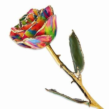 Lacquer Dipped Gold Trim Paradise Neon Tie Dyed Rose