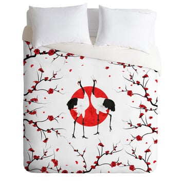 Belle13 Love Dance Of Japanese Cranes Duvet Cover