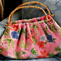 Vintage Pink Floral Bamboo Purse,