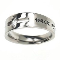 Christian Women's Stainless Steel Cutout Cross Solitaire Walk By Faith 2 Cor. 5:7 Girls Purity Rings