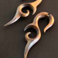 Pair of Knife Tail Wooden Earrings, Long Tribal Fake Gauges Wood Earring Made from Rose Wood FGW-0076