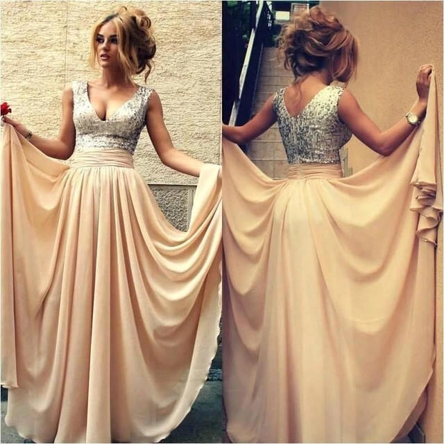 Champagne Sequin Prom Dresses For Wedding from Nkeru Couture
