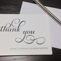 Personalized Thank You Notes  SIMPLE THANK by SoireeCustomPaperCo