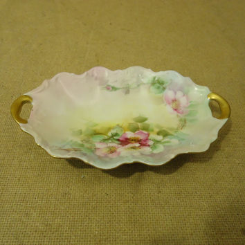 D & C Limoges Vintage Dish 8in L x 5in W x 1in H Multicolor Floral China -- Used