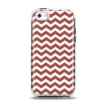 The Maroon & White Chevron Pattern Apple iPhone 5c Otterbox Symmetry Case Skin Set