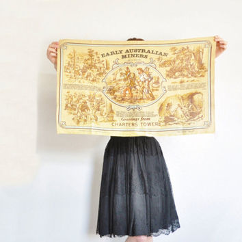 Early Australian Miners linen tea towel . large rough burlap decor