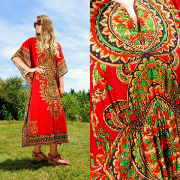 Vintage 70's Kaftan Dress, Bohemian Dashiki Dress, Red Cotton Ethnic Maxi Dress, Boho Hippie Festival Dress, Angel Wing Batik Dress Caftan