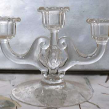 Crystal Candelabra  - Cambridge Diane Etched Crystal Corinth - Candle Holder  - Antique Etched Glass