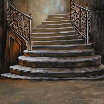 Printed Muslin Scenic Elegant Brown Staircase Backdrop - 112-2