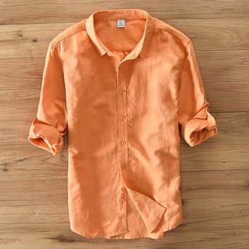 Spring Men Slim Fit Long Sleeve Shirts Breathable Linen Shirt Men