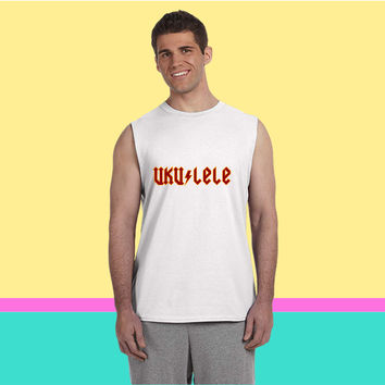 Ukulele goes AC DC Sleeveless T-shirt