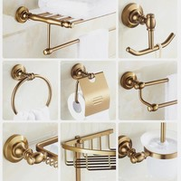 Antique Gold Brass Bathroom Accessory set Polished Bathroom Hardware Set Bathroom Proudcts