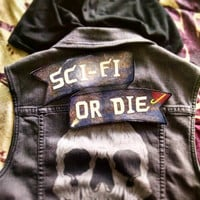 Sci-Fi or Die: space ribbon punk back patch