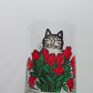 Vintage Kliban Cat With Roses Tastesetter Glass 1970s