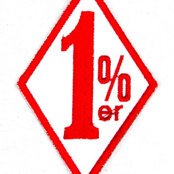 1%ER  diamond Red on white Small Badge Patch for Motorcycle Biker Vest SB978