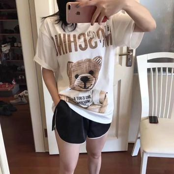 """Moschino"" Unisex Casual Loose Cute Cartoon Bear Letter Pattern Print Short Sleeve Couple T-shirt Top Tee"