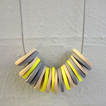 NL-187 Yellow, Caramel and Grey Polymer Clay Disc Necklace in Length Adjustable Light Grey Colour Leather Cord