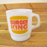 Vintage Fire King Burger King Coffee Mug White Glass