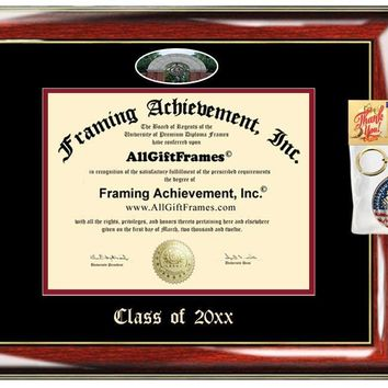 AllGiftFrames Custom Diploma Frame Embossed Indiana University of Pennsylvania Best Graduation Degree IUP Frame Double Mat Campus Fisheye Picture Frame Cheap Degree