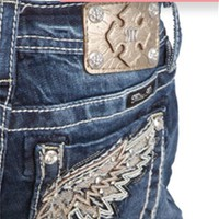 Miss Me Girls Skinny Jeans with Wing Pocket JK7072S