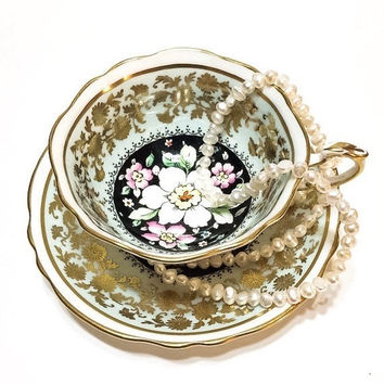 Paragon Tea Cup, Lacy Floral Gold Chintz, Pale Blue and Black, Large White Flower, English Bone China, 1940s, Vintage Tea Cup