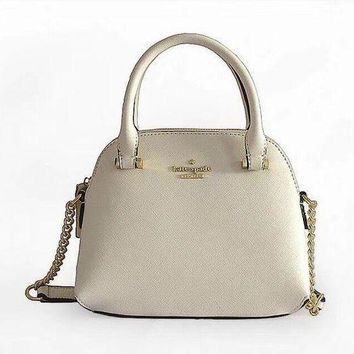 Kate Spade Fashion Women Metal Logo Leather Tote Handbag Shoulder Bag Crossbag White I